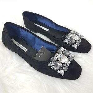 Zara Trafaluc Bejeweled Ballet Flats Sz 37/6.5